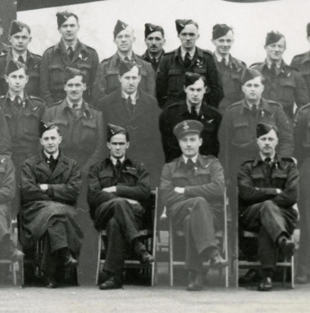 Dad, front row left, his pilot, Vernon John Zinzan and navigator James George Sydney Coote. Middle row Sgt. H. Hutchinson, Mid Upper Gunner. Back row from left Sgt. A. Ackroyd, Flight Engineer and Sgt. Miles Parr, Wireless Operator.