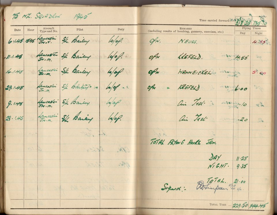 The relevant page from Dick Pickup's logbook, showing the Krefeld raid on the 29th of January - JN-Mike's 100th op with 75(NZ) Squadron.picture supplied by Tony Pickup ©