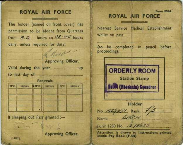 RAF absence pass