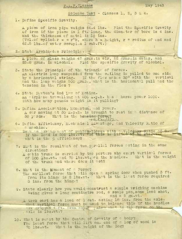 RAF Classes Science Test