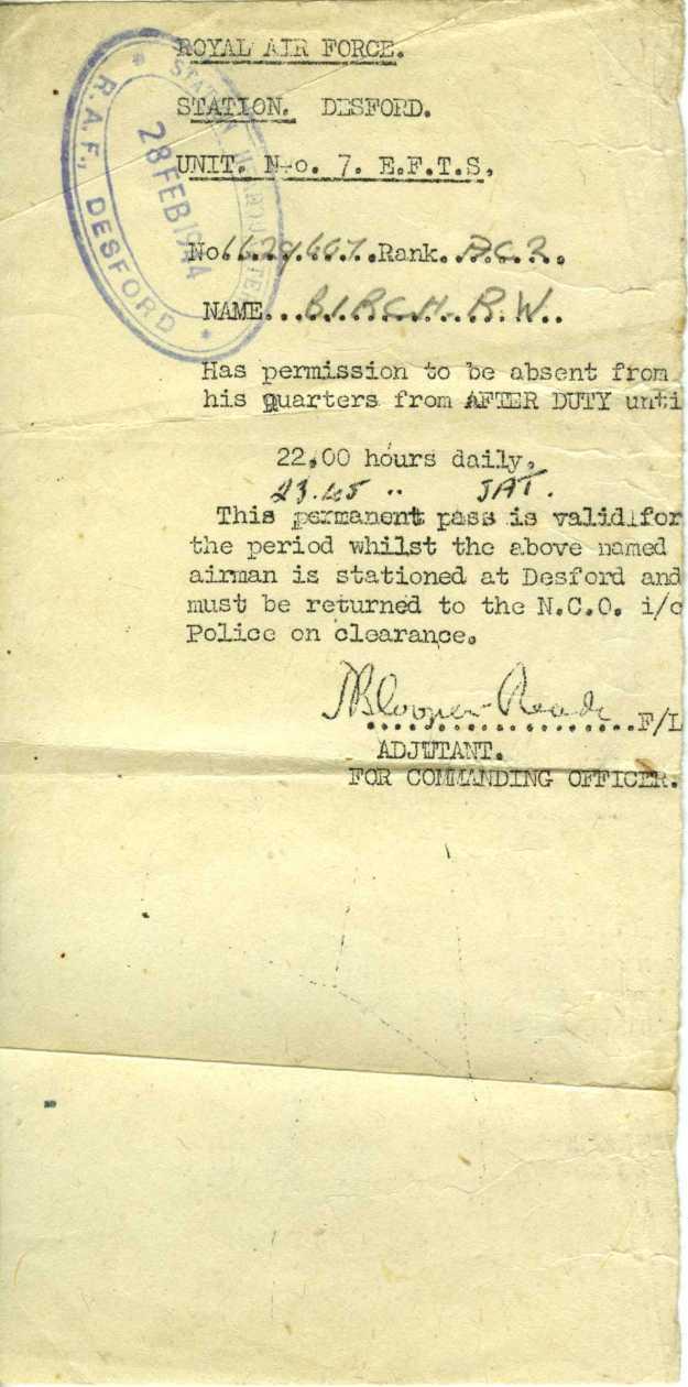 RAF Desford absence form