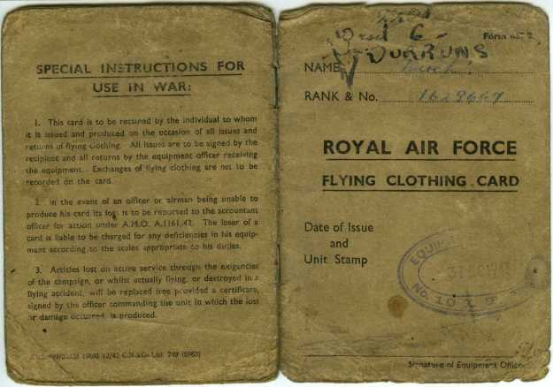 RAF Flying Clothing Card 1