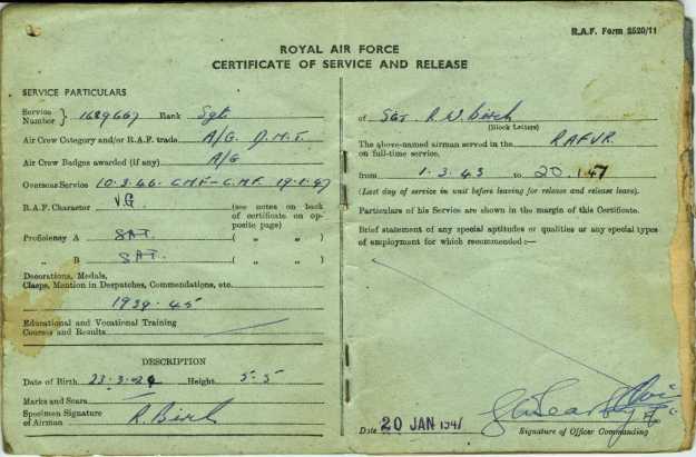 RAF Service and Release Book 7a Certificate
