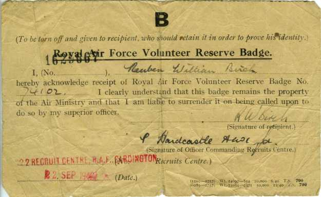 RAFVR Badge note