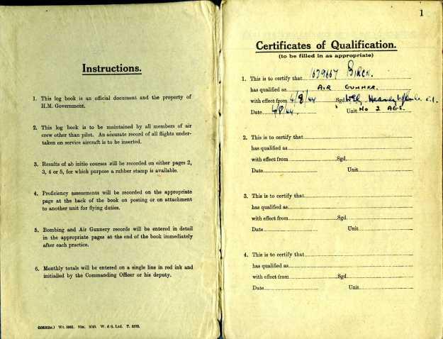 Uncle Reub RAF logbook 1