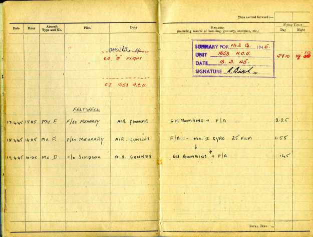 Uncle Reub RAF logbook 10