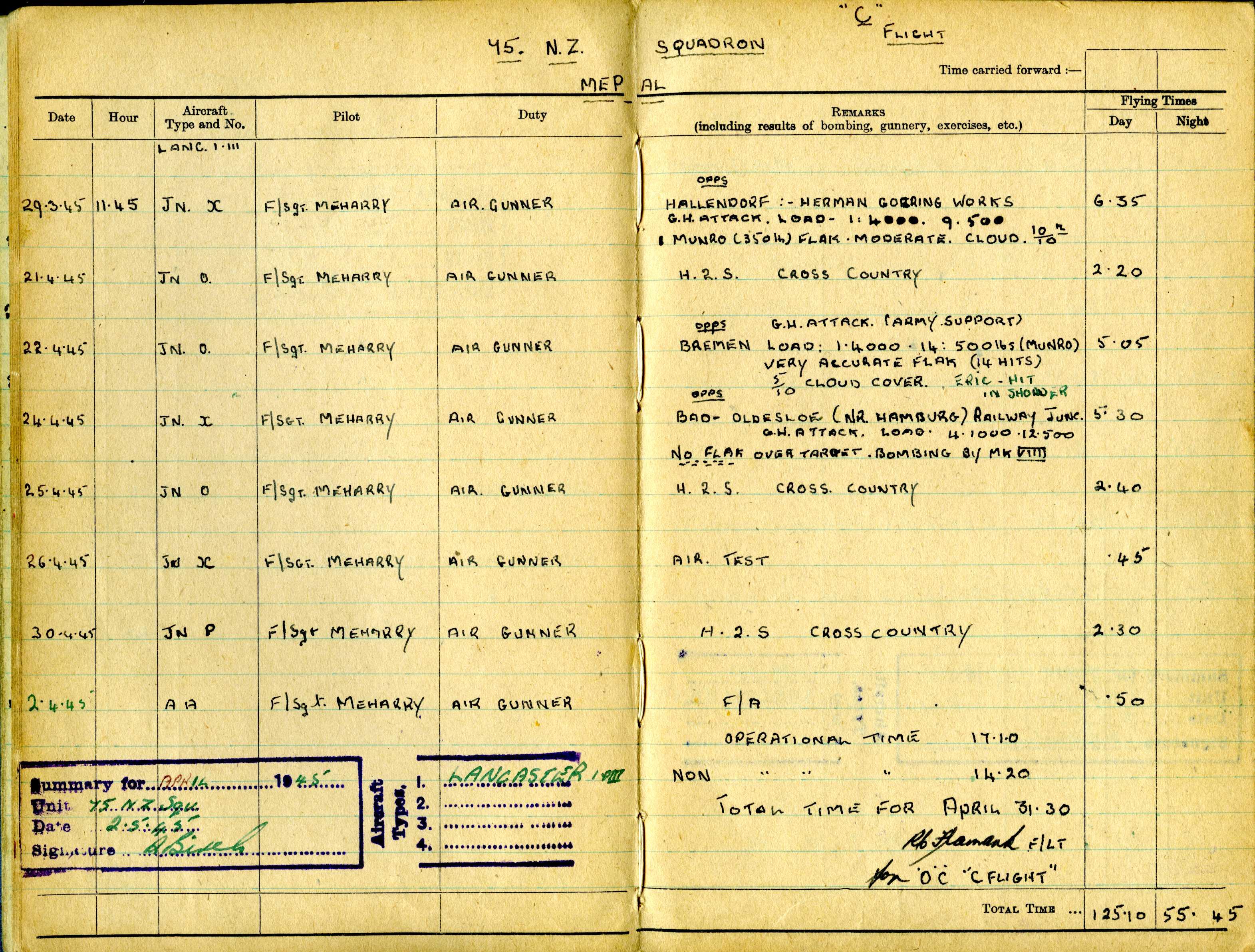 Uncle Reub RAF logbook 11
