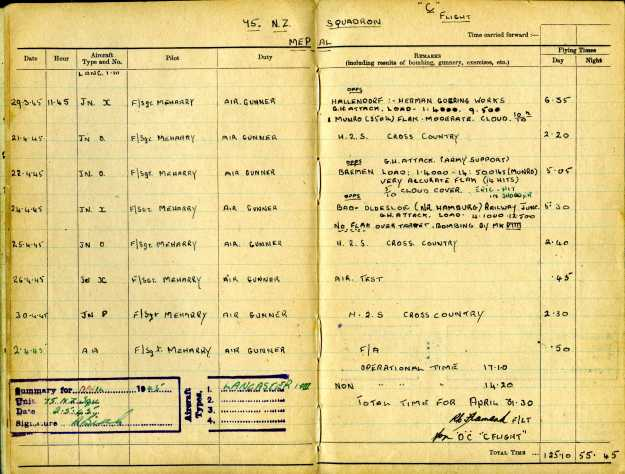 Uncle Reub RAF logbook 11