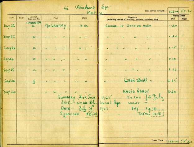 Uncle Reub RAF logbook 15