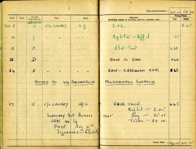 Uncle Reub RAF logbook 16