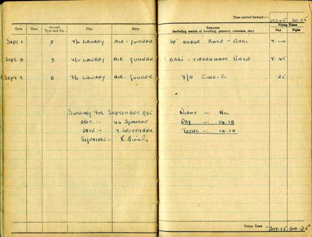 Uncle Reub RAF logbook 17