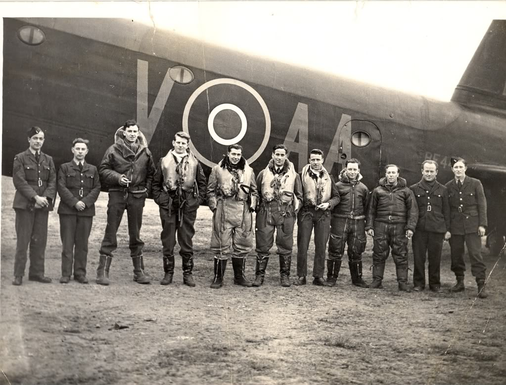 On 75 Sq. L to R, two ground crew, Navigators F/O Ormerod (Gisborne) then Bruce Hosie, Sixth from left is P/O Jack Bailey, Pilot of Waikato. Image supplied by Peter Wheeler.