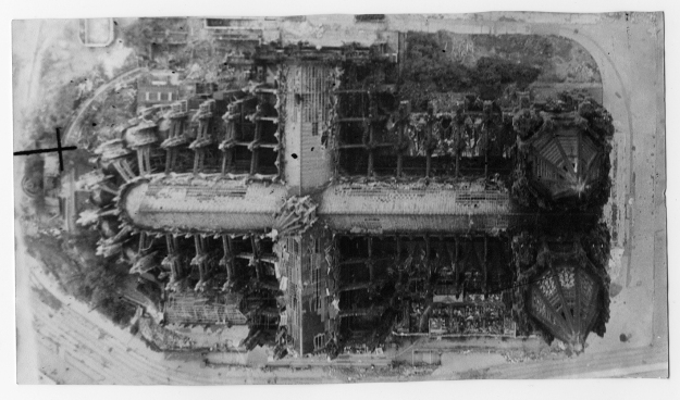 A shocking image of Clogne Cathedral, showing the devastation caused to it by allied bombing.© Jimmy Wood collection.