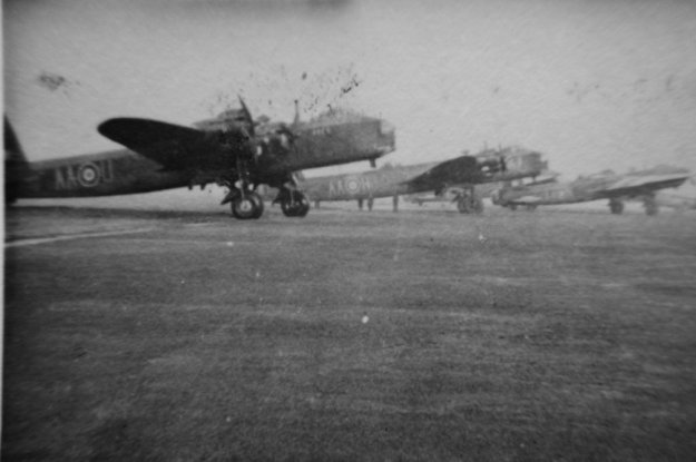 Stirling bommbers AA-U and AA-H, plus another unidentified at Bradwell Bay sometime between Christmas 1943 and May 1944. From Reg Mitchell album collection.