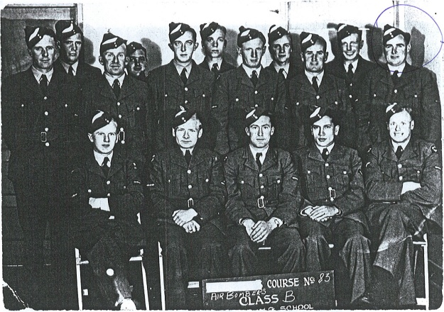 "Photo: ""Air Bombers Course No. 83, Class B, ..... School"" - Wally Sneddon circled at back."