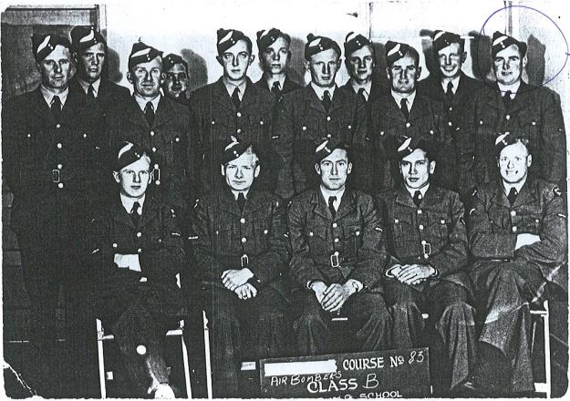 "Photo: ""Air Bombers Course No. 83, Class B, ..... School"" - Wally Sneddon circled at back."