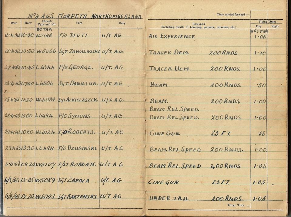 T Darbyshire Air Gunners Log Book 004