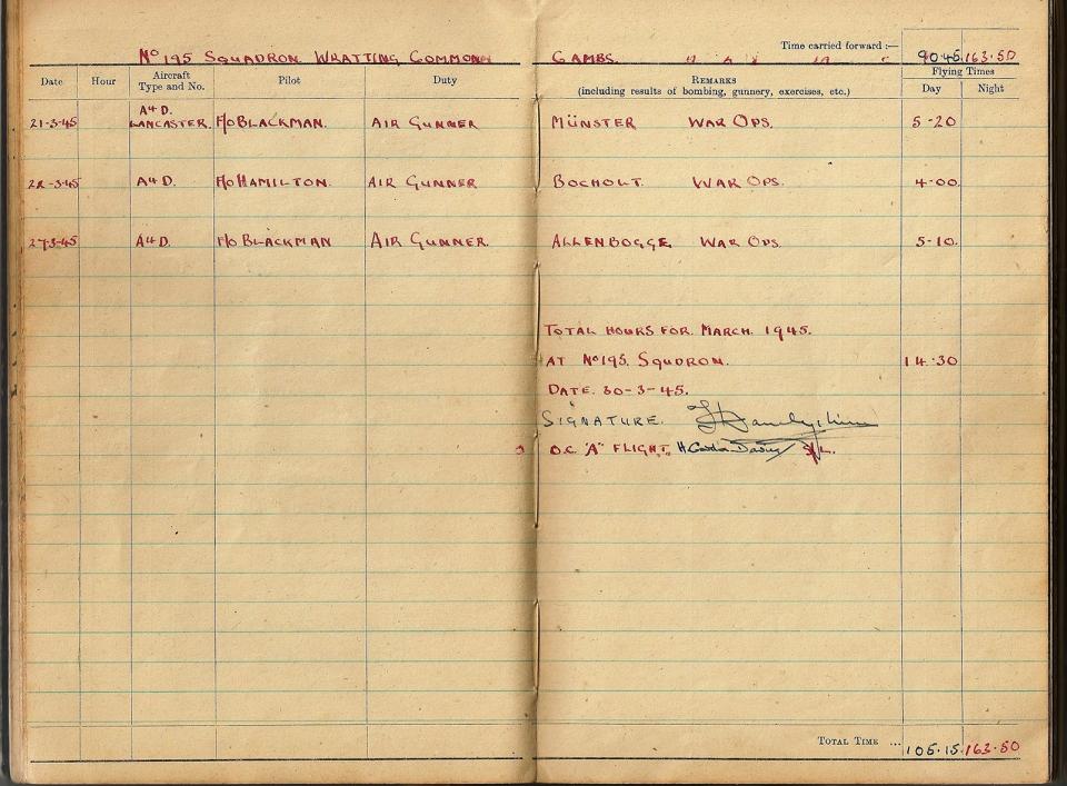 T Darbyshire Air Gunners Log Book 017