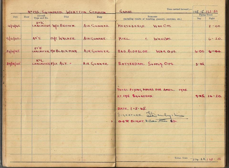 T Darbyshire Air Gunners Log Book 018