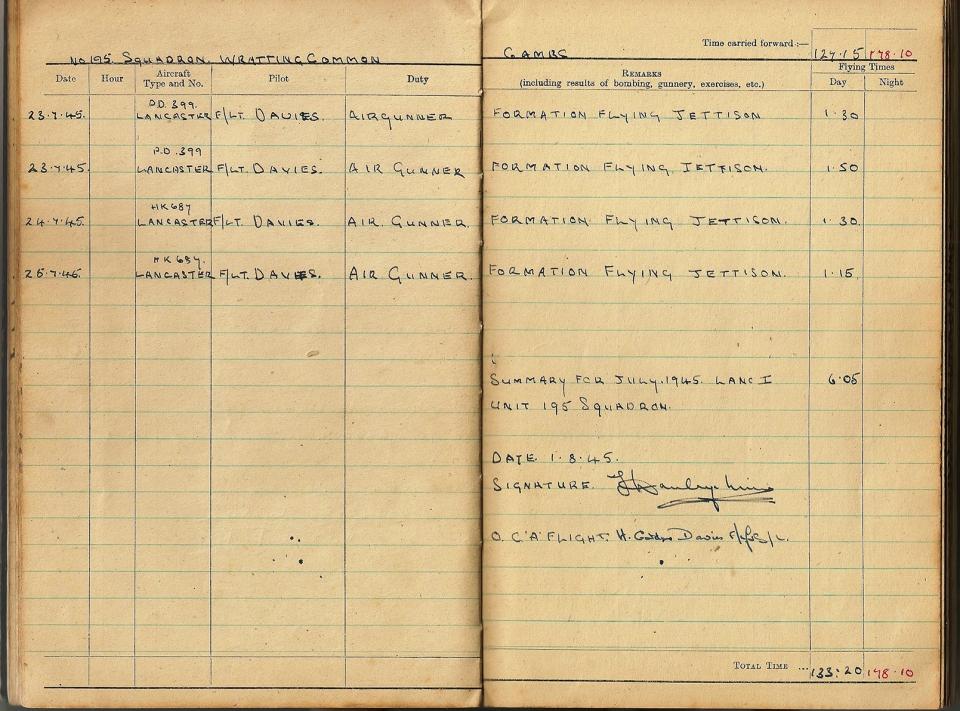 T Darbyshire Air Gunners Log Book 020