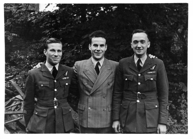 Warrant Officer Miles Parr, stood on the right of the picture. The identity of the other 2 chaps is as yet a mystery.... ©  Jimmy Parr