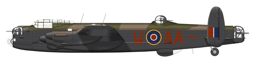 Lancaster Mk.III RF127 AA-William. The Zinzan crew flew 9 ops in her.
