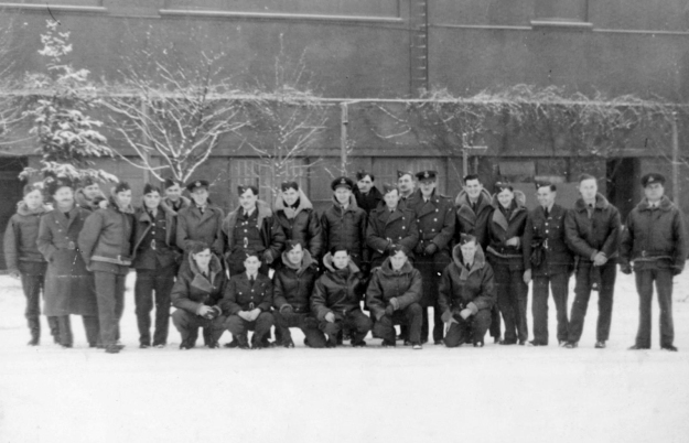 A group shot of 75(NZ) Squadron, taken at Feltwell. Malcolm Harris is on the left of the front row.