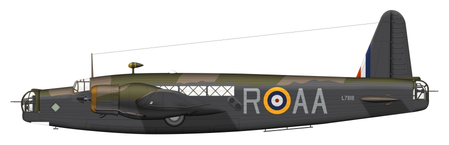 Wellington Ic L7818 AA-R. The illustration carries the serial number and Squadron codes of the aircraft in which James Allan Ward won his Victoria Cross on the 15th of September 1941 whilst returning from the Munster raid. artwork produced by Clavework Graphics © Bill Dady.