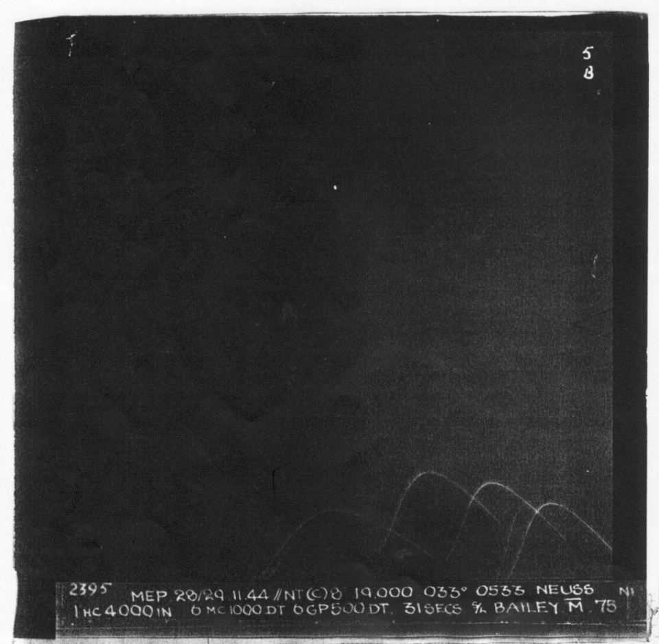 "NEUSS Night 28/29.11.44. 19,000' Aircraft ""M"" Light flak Bombed on Markers Poor photo."