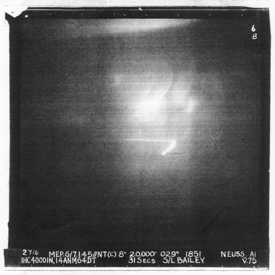 "NEUSS Night 6/7/.1.45. 20,000' Aircraft ""V"" Medium amount of flak on way in and over target Bombed on Markers Poor Photo"