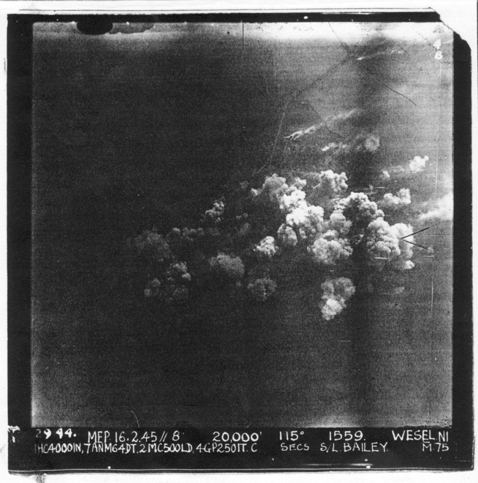 "WESEL Daylight 16.2.45. 20,000' Aircraft ""M"" (it was our 102nd operation for ""M"") Vsual Bombing in formation - we led."