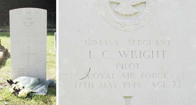 The grave of Sgt. Leslie Charles Wright. St. Johns the Baptist Church, Charlton, Wiltshire.