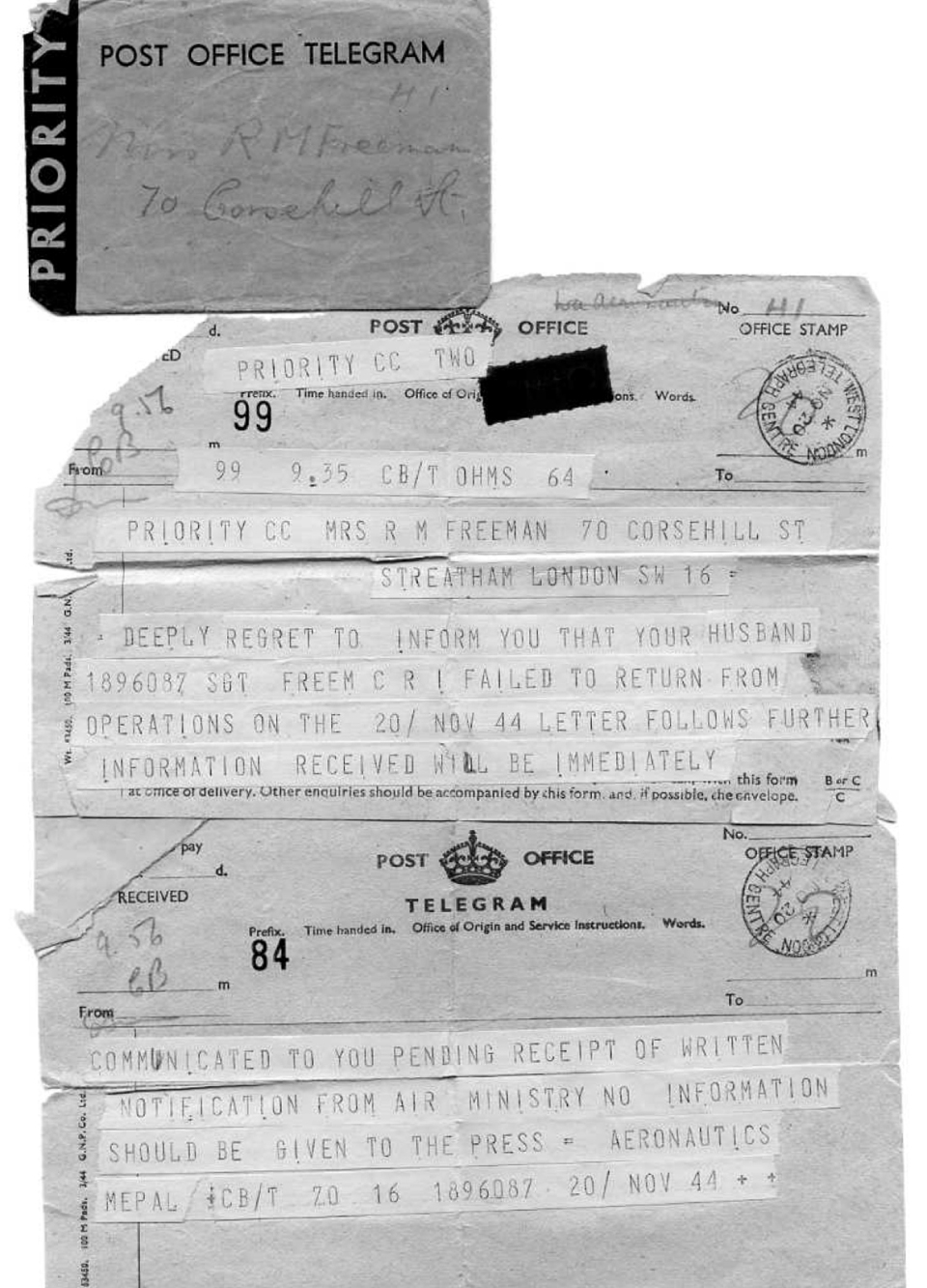 1 Telegram, 20 Nov 1944
