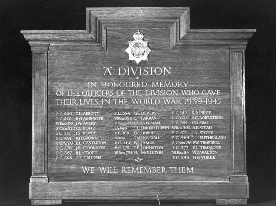 Metropolitan Police  Memorial Board