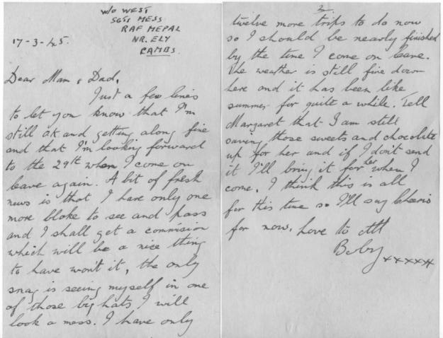 Bobby's Last Letter 17 03 1945 IMG