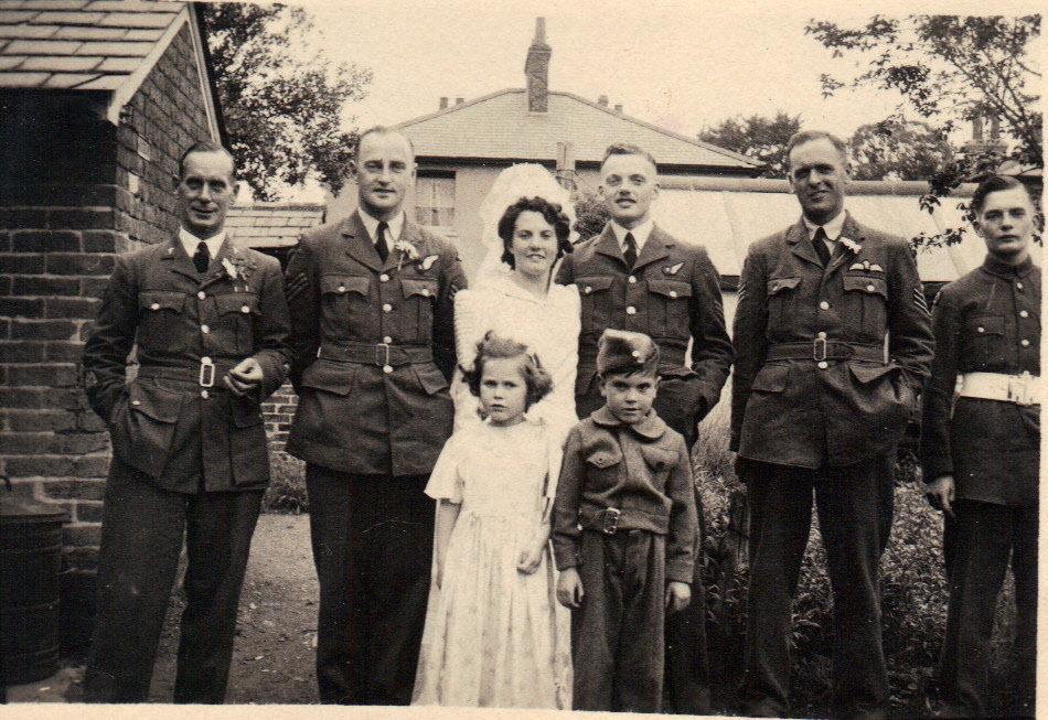 Joyce and Roy's reception outside No. 9 on 1st July, 1944
