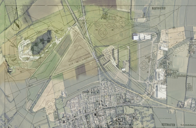 Airfield site plan scan tidied up with google earth
