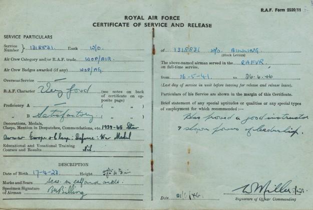 Bert Billing RAF Release