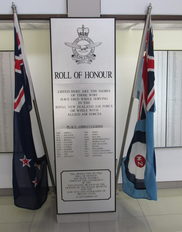 Roll of Honour Airforce Museum of NZ Christchurch (2)