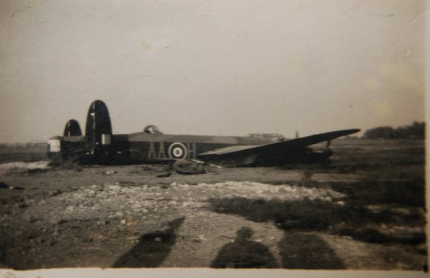 "Caption on the back: ""Lancaster Mepal. ND914 AA-H. Swung on landing 28-5-44. Written off."" - Photo courtesy and copyright of NZ Bomber Command Association photo archives, from the collection of Joe Tomlin."