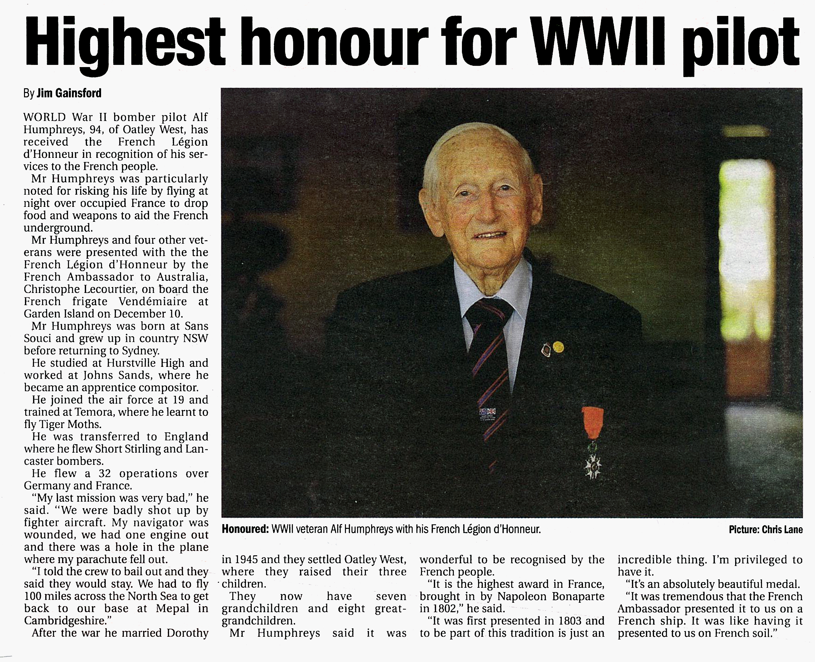 Alf Humphreys Medal of Honour. tidied and cropped
