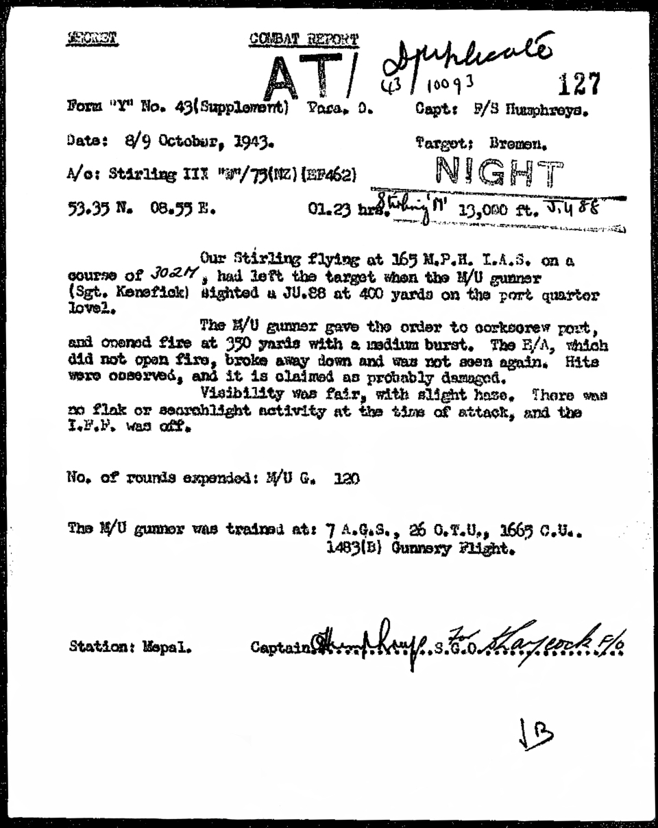 CR report 8OCT43 Bremen