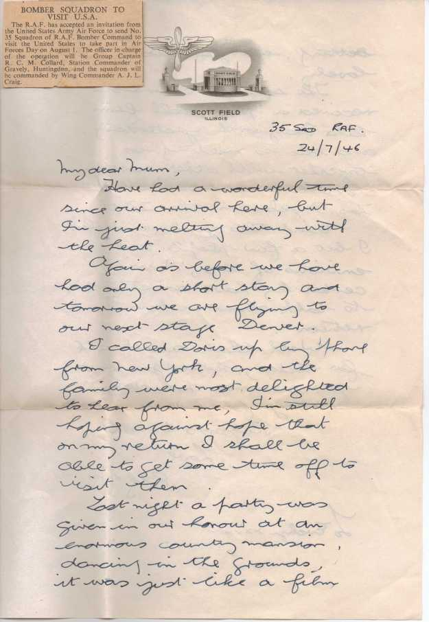 Letter July 1946 - 35 Sdn - Page 1