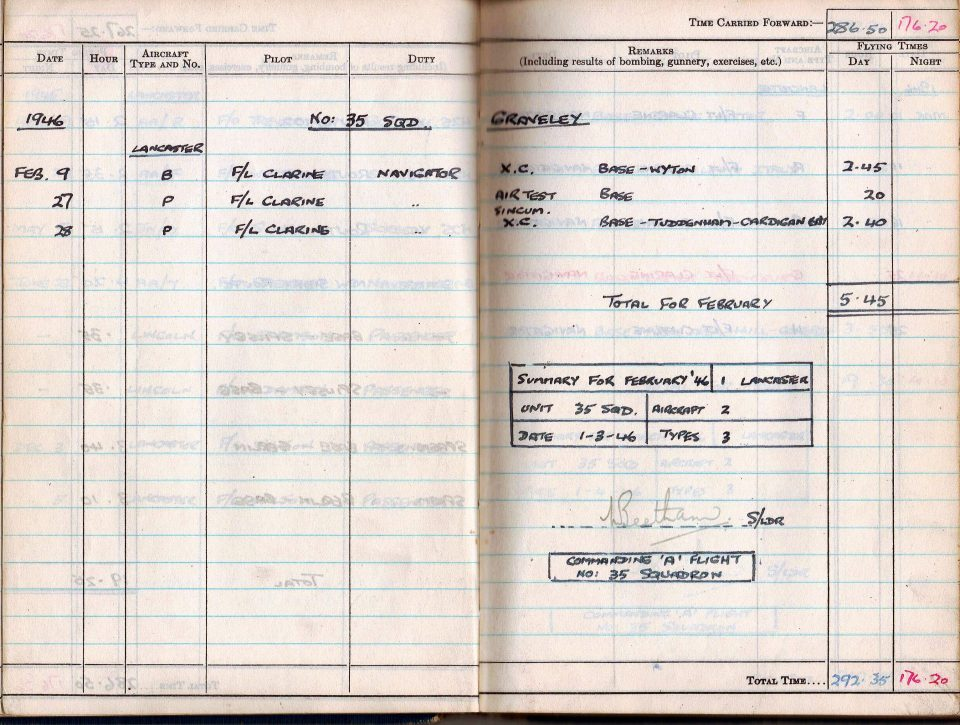 RC Weeden - Logbook 1946 - Page 01