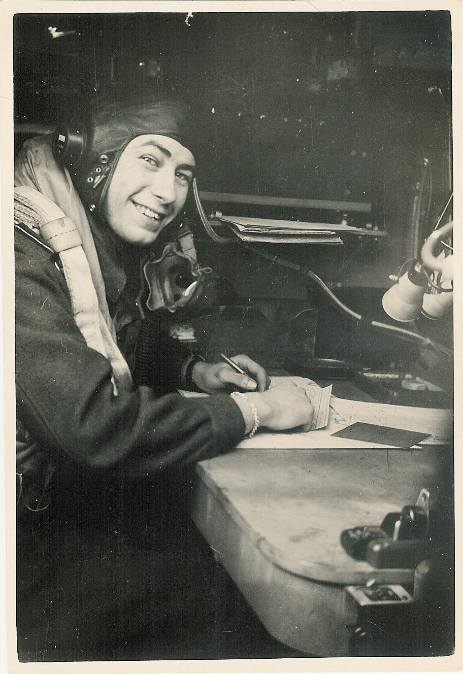 Reg Weeden at Navigator Stn. Lancaster - RAF Mepal 1944