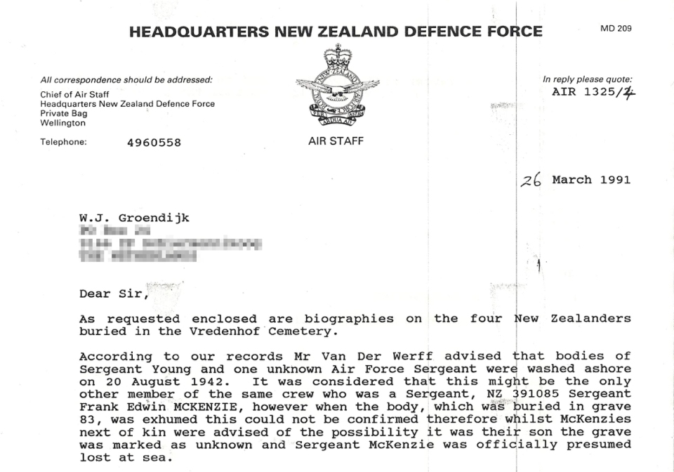 letter NZ Def force cpd and obs