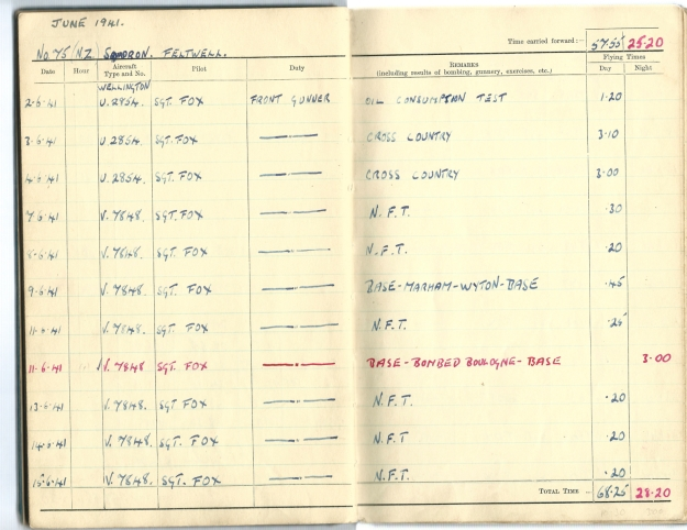 0001 Flight log Jun 1941