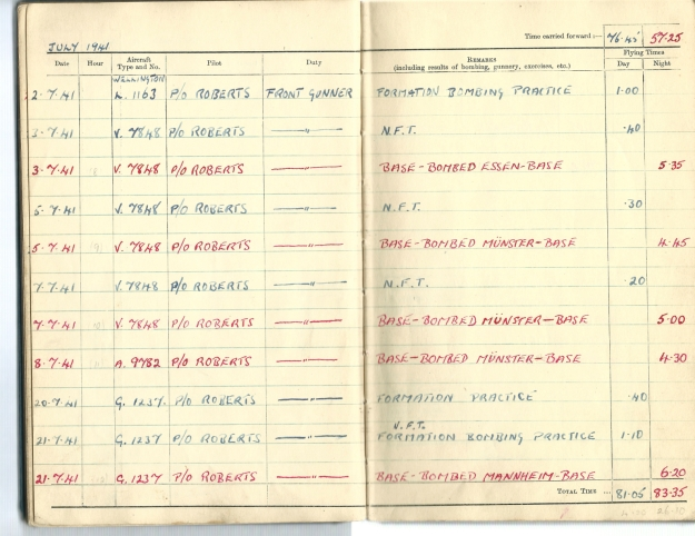 0004 Flight log Jul 1941