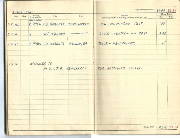 0006 Flight log Aug 1941