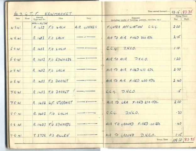 0007 Flight log Aug 1941 p2